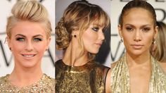 Julianne Hough, Jennifer Lawrence and Jennifer Lopez dazzle in metallic makeup and glittery gold gowns.   - HarpersBAZAAR.com