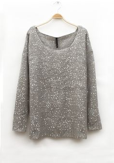 Sparkle and SHINE! Gray Wool Blend Sweater with Sequins ... So Pretty! #grey #sparkle #sweater