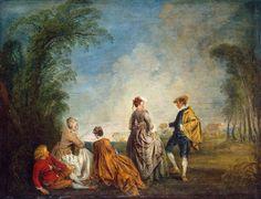 Una proposta imbrarazzante, ca. 1736, olio su tela, Jean-Antoine Watteu. Museo statale Ermitage, San Pietroburgo, Russia.