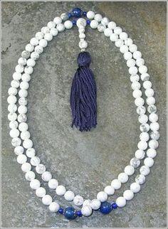 8mm Howlite & Lapis Buddhist Mala Prayer Beads - 108 Beads $27.95