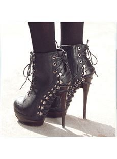 Cool Show Chic Black Nubuck Lace-Up High Heel Martin  Boots
