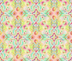 Soft Neon Pastel Boho Pattern fabric by micklyn on Spoonflower - custom fabric