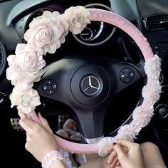 Flower Embellished Steering Wheel Cover