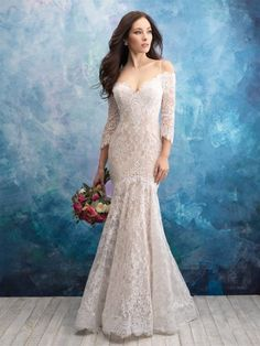 2ead9a0a14ed Off The Shoulder Lace Fit And Flare Wedding Dress by Allure Bridals - Image  1 Bridal