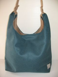 petrol blue and beige  grossery bag handbag by LIGONaccessories, $59.00