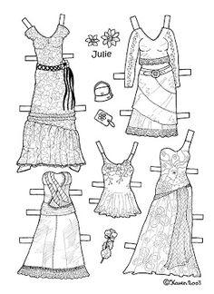 Karen`s Paper Dolls: Julie 1-4 Paper Doll to Colour. Julie 1-4 påklædningsdukke til at farvelægge.
