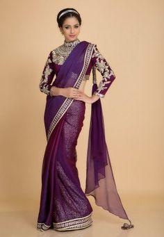 Image result for purple saree