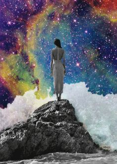 Trippy Collage, black and white woman staring out at the universe Soul Collage, Collage Art, Psychedelic Art, Psy Art, Photocollage, Poster S, Illustration, Trippy, Illusions