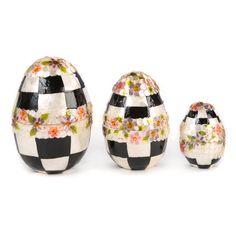 MacKenzie-Childs   Black & White Floral Nesting Eggs - Set of 3