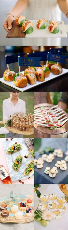 These Are The Food Trends You Should Try In 2017 Attention Foodies!Let's be realistic! For many of your guests, one of the most memorable parts of the wedding is the food. Here Comes 2016 Wedding Food Trends. Snacks Für Party, Appetizers For Party, Appetizer Recipes, One Bite Appetizers, Tapas, Aperitivos Finger Food, Wedding Food Stations, Vegan Coleslaw, Reception Food