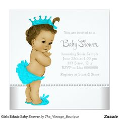 Shop Ethnic Baby Girl Shower Red Invitation created by The_Vintage_Boutique. Custom Baby Shower Invitations, Baby Shower Invites For Girl, Girl Shower, African American Babies, American Baby, Boy Printable, Printables, Baby Shower Princess, Invitation Paper