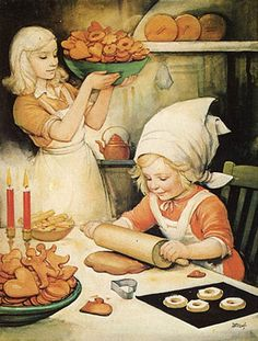 This looks like it could have been my Mother and Me ... teaching me how to bake Swedish Cookies and Pie. Helge Artelius (1895-1989, svéd)