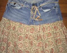 RESERVED FOR NANCY - Up-Cycled Denim Topped Peasant Skirt, Size 0 - Etsy