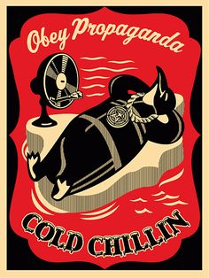 ☯☮ॐ American Hippie Psychedelic Art ~ Penguin Chillin' - OBEY Shepard Fairey street artist . . revolution OBEY style, street graffiti, illustration and design posters.