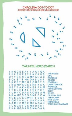 UNC connect-the-dots and wordsearch...fun for every Tar Heel.  Print your own!