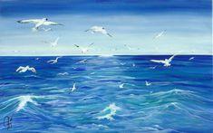 """Un mare di """" Gabbiani """" - dipinto di Violetta Viola Acrylic on Canvas Opera, Waves, Outdoor, Fotografia, Outdoors, Opera House, Outdoor Games, Outdoor Living, Beach Waves"""