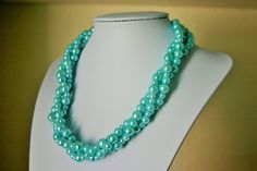 Tiffany Blue Soiree Necklace  Triple Layer by PolkaDotDrawer, $22.90