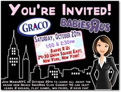 Graco Babies 'R Us NYC Event: You're Invited! Join MamaNYC at Babies 'R Us Union Square in NYC on Saturday, October 20th! Graco @GracoBaby #GracoSafety SnugRide Click Connect Carseat Event!