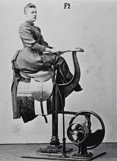 : Zanders medico-mechanical gymnastics equipment - helping your side-saddle balance and posture? // Love her hair. Victorian Women, Edwardian Era, Victorian Era, Victorian Photos, Old Pictures, Old Photos, Retro Pictures, Life Pictures, Mechanical Horse