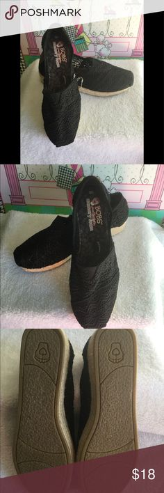 Black BOBS stretch crochet shoes. Excellent pair of BOBS! Size 8W. Like new. BOBS Shoes