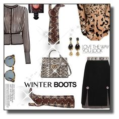 """""""So Cozy: Winter Boots"""" by faten-m-h on Polyvore featuring Yves Saint Laurent, Holly Fulton, Alexander McQueen, Shrimps, Lanvin, Oscar de la Renta, DICK MOBY, Gucci and winterboots"""