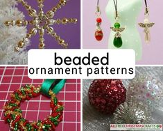 Check out this collection of easy Christmas ornaments with beads! Create angels, snowmen, stars, and more with any of these homemade Christmas ornaments. Spiral Christmas Tree, Snowman Christmas Ornaments, Homemade Christmas Decorations, Homemade Ornaments, How To Make Ornaments, Holiday Crafts, Christmas Ideas, Christmas Patterns, Homemade Candles