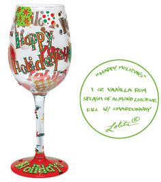 Happy Holidays Wine Glass    (Want)