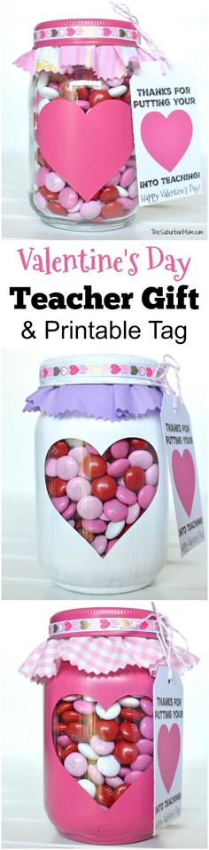 Valentine's Day Gift for Teachers + Free Printable Gift Tag.