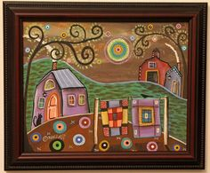 Quilt Dream FRAMED ORIGINAL Canvas Panel PAINTING FOLK ART 8 x 10 Karla Gerard #FolkArtAbstractPrimitive