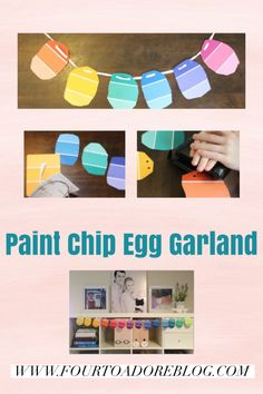 Easter craft garland egg Easter Activities, Craft Activities, Easter Garland, Paint Samples, Paint Chips, Color Card, Easter Crafts, Decorating Your Home, Paint Colors