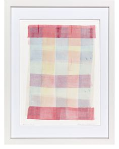 """Primary Plaid"" by Ellen Levine Dodd - Monoprint on heavy archival cotton rag paper framed in contemporary white frame. - 13"" x 17"" - available for sale"
