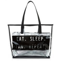 Black Eat Sleep Tan Repeat Perspex Beach Bag ($15) ❤ liked on Polyvore featuring bags, handbags, strap purse, strap bag, beach bags, beach tote bags and acrylic handbag