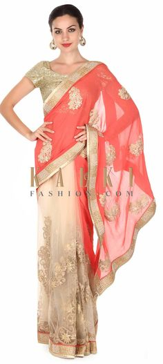 Buy this Half and half saree in coral and beige with zari work only on Kalki