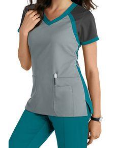 Grey's Anatomy 3 Pocket Color Block V-neck Scrub Tops Scrubs Outfit, Scrubs Uniform, Scrub Suit Design, Cute Nursing Scrubs, Medical Scrubs, Medical Dental, Scrub Skirts, Dental Uniforms, Doctor Scrubs