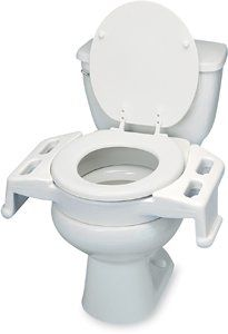 Elevated toilet transfer seat by Maddak. $95.00. Elevated toilet transfer seatProvides an extended platform to help wheelchair users transfer to and from the toilet seat. Bolts onto most toilets and uses a regular toilet seat and lid to maintain the dcor of the user's bathroom. Gripping slots aid in the contraction of abdominal muscles when difficulty with bowel movement occurs. (Note: Not for use with elongated toilet seats.) Adds 4 (10 cm) of height to the toilet. Hardware kit ...