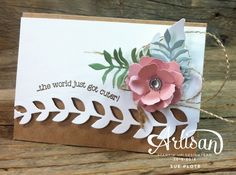 Baby card featuring Botanical Builders Framelits Dies from Stampin' Up! ~ by Sue Plote