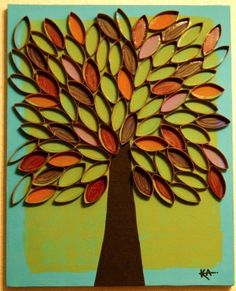 Toilet Paper Roll Craft of a fall tree