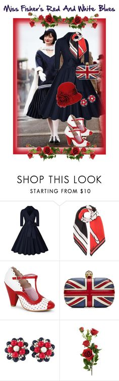"""""""Miss Fisher's Red And White Blues"""" by jostockton ❤ liked on Polyvore featuring Givenchy, Bettie Page, Alexander McQueen and Miriam Haskell"""