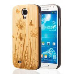 Dřevěný kryt Samsung Galaxy S4 z bambusového dřeva s motivem Butterfly