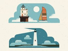 A couple lighthouses we illustrated for The Washingtonian as part of a map of the Chesapeake Bay