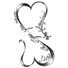 "A simple, but meaningful tattoo idea of two hearts connected in the form of infinity symbol. There is a lettering: ""Live the life you have."". Color: Black. Tags: First, Matching, Couples, Easy, Meaningful"