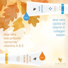 Reach for Aloe Lotion and Aloe Propolis Creme to help maintain a healthy skin tone and texture!