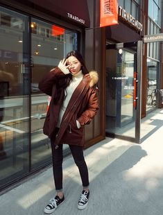Your Integrity Knit - I know you wanna kiss me. Thank you for visiting CHUU. Korea Winter Fashion, Seoul Fashion, Autumn Fashion, Korean Fashion Trends, Asian Fashion, Korean Winter Outfits, Japan Outfit, Snow Outfit, Cool Outfits