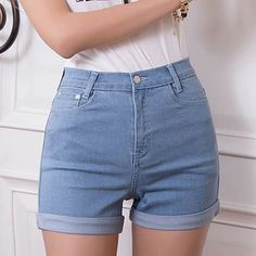 $7.94 Simple High-Waisted Stretchy Slimming Bleach Wash Rolled-Up Solid Color Denim Shorts For Women