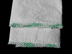 Vintage White Cannon Percale Combspun Pillowcases Crocheted Mint Green Trim | eBay
