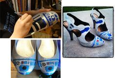 Pics of what happens when you get a group of geeky, crafty women together. I want to make R2-D2 canvas shoes now.