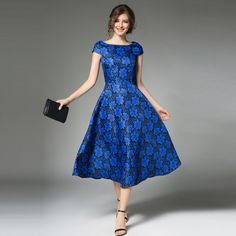 Buy Now (Blue Flower Boat Neck A Line Vintage Dress) from Sheetag - http://www.sheetag.com/product/blue-flower-boat-neck-line-vintage-dress/