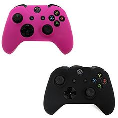 HDE 2 Pack Protective Silicone Gel Rubber Grip Skin Cover for Xbox One Wireless Gaming Controllers Black  Pink * Be sure to check out this awesome product.Note:It is affiliate link to Amazon. #likers