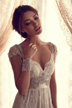 Luxury V Neck Anna Campbell Wedding Dresses Lace Crystal Beaded Bridal Gowns With Sleeves on Etsy, $350.00