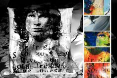 Cuscino in ecopelle personalizzato con immagine Jim Morrison. Si possono usare anche le proprie immagini per personalizzare cuscini, borse, pochette, magliette, tele...tutto su www.drew-lab.com